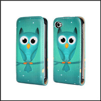 Cute Owl Print Flip Leather Case For iPhone 4 4S with 2 Kinds + Free Screen Protector