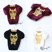 5pcs/lot new arrival girls long sleeve owl printed long sleeve t shirt kids fashion cotton tops 1147
