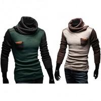 Men Hotsale Fashion Winter Hoodies Sweatershirts Casual Fitted Pullover Cardigan Splice Knitwear Slim