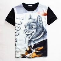 (Alice)free shipping COOL wholesale 2015 summer Men t shirt Black lovely dog print short-sleeve casual 3d t-shirt top tees S-XL