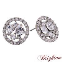 Fashion Simple Round Design Shiny AAA Zircon Crystal Earrings Colorful Gun Black Stud Earrings Jewelry For Women