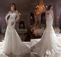 Sweetheart Lace Long Sleeve Mermaid Wedding Dresses 2015 Plus Size Open Lace Up Back White Wedding Bridal Dress