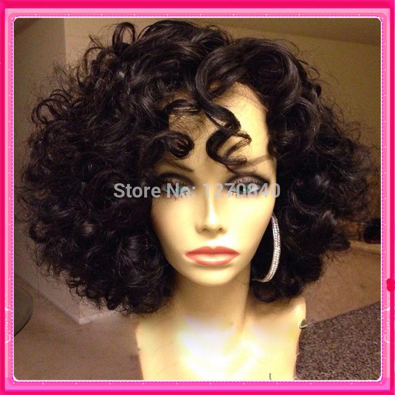 2015 New 7A grade short human hair lace wigs short curly glueless full ...