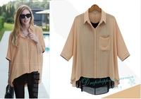 Women Casual Shirt Hot Mixed Colors Fake two-piece Chiffon Shirt Loose Women Shirts Free Shipping