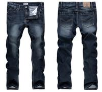 2015 classic men's designer jeans straight trousers pencil pants indigo