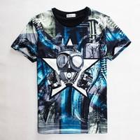 (Alice)free shipping 2015 summer Fashion t-shirt Men/Women Blue alien print short-sleeve casual 3d t shirt harajuku top tees