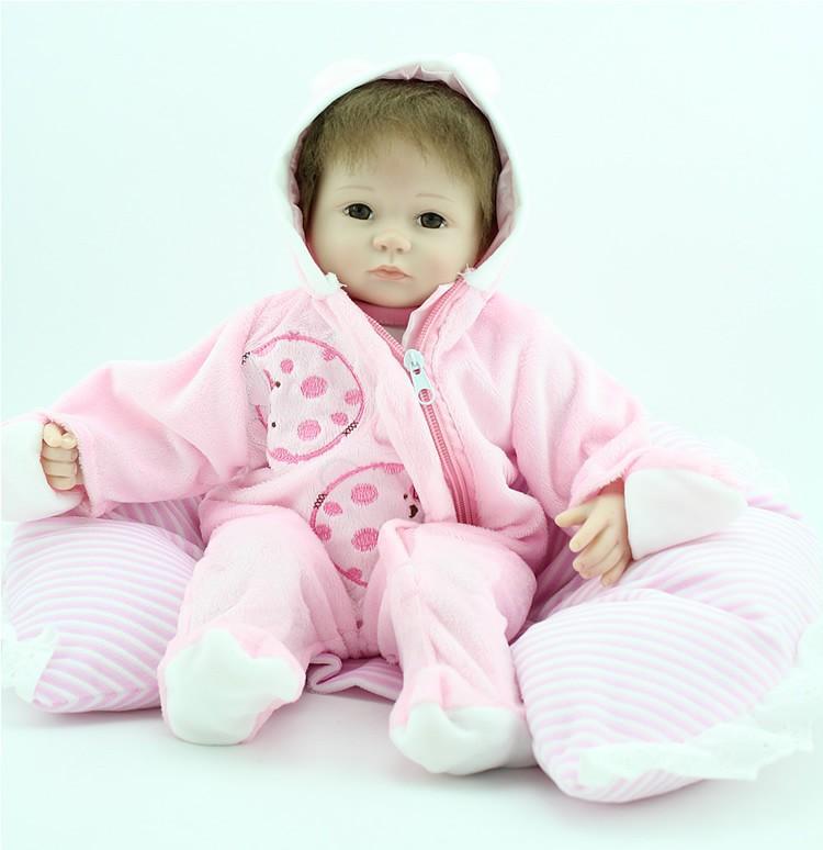 45cm reborn baby doll soft silicone vinyl girl dolls pink cute clothes