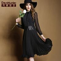 2015 spring peter pan collar elegant vintage long-sleeve pleated medium-long chiffon one-piece dress 01030