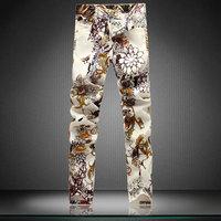 Flower Painting Men's Jeans 2015 Fashion Slim MEN Long Pencil Pants Jeans 29-38 Nightclub Elastic Casual Jeans Factory price