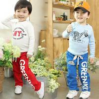 Boy Kid Fashion Sports Pants Children Casual Straight Letter Mid Waist Loose Long Pants
