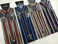2015 Fashion vintage stripe suspenders  elastic big boy suspenders