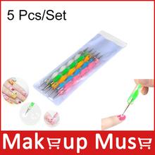 5 pçs/set Hot 2 maneira Dotting Pen Marbleizing pintura Nail Art ferramenta Dot Set Nail care #DT05