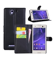 NWT retail Flip pu leather Case for Flip leather case For Sony xperia c3 D2502 D2533 phone protective bags cover + cards-holder