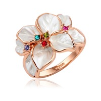 Hotting Sale Jewelry Ring With Rose Gold Plt SWA Elements Austrian Crystal White Enamel Flower Wedding Ring For Women