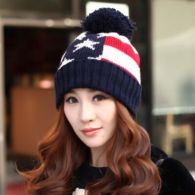 Winter double layer thickening knitted hat women's star pattern stripe knitting beanie hat(China (Mainland))