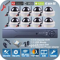 P2P 2.0Megapixel 1080P HD WIFI Camera ONVIF H.264 8CH NVR Wireless Video Surveillance Kit Dome IR Night Vision Cameras System
