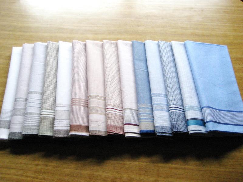 12 pieces / one dozen large size 40cm x 40cm Striped & Checks Pattern 100% Cotton Handkerchiefs(China (Mainland))