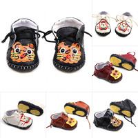 Cute Infant Baby Boy Girl Lace-Up Shoes Soft PU Leather Antislip Prewalker Shoes
