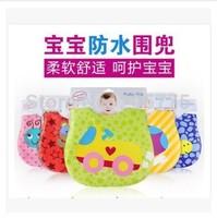Free Shipping !Soft stereo waterproof bag for dinner Disposable environmental protection EVA baby bib skew fastening4pcs/lot