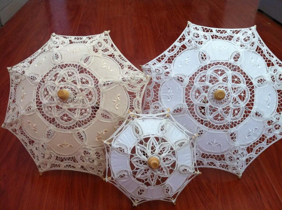 Branco do casamento do laço Parasol do laço nupcial do guarda-chuva em estoque 2015 Popuplar do Vintage sol nupcial Sombrinha De Renda XNS003(China (Mainland))