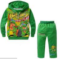 boys turtles pattern hoodie + pants suit children ninja cartoon suits kids clothes set retail YCZ020