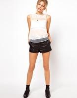 Free shipping 2015 new  Chiffon fashion sense through glass yarn splicing level sleeveless T-shirt female clothes  QZ2556