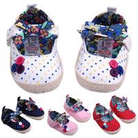 Princess Baby Girl's Dots Button Decor Velcro Canvas Crib Shoes Prewalker 0-12M