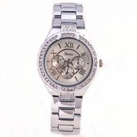 hot sales lady vogue style with crystal quartz movement wrist watch women geneva