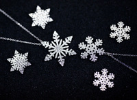 South Korea full of high-end strobe Micro Pave CZ Snowflake short clavicle chain necklace earrings