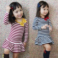 Best price for Auntumn Kids Girls Long Sleeve Stripe Bow Tutu Party Dress Baby Outfit