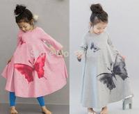 Wholesale Fashion Korean Ink Wash Butterfly Washing Printing Long Sleeve Wide Hemline Vintage Girls Bow Dress Kids Dresses