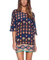 Spring Summer Fashion Retro Ethnic Geometric Print Totem Pattern Short Sleeve dress Casual Dresses Vestidos