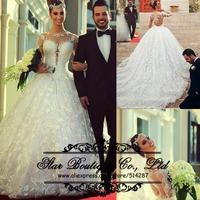 Vestido De Noiva 2015 High Neck Long Sleeves A Line Lace Wedding Dresses Bridal Dress With Long Train