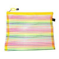 Polyvinylchlorid Documents Pouch File Bag Office Rectangle Multicolor Stripe Pattern 33.5cm x 26.0cm, 3 PCs 2015 new