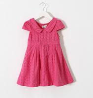 2015 Girls Cotton Buttons Dresses With Back Bow, Kids Brand  Dress 6 pcs/lot , White Light Blue Rose Wholesale