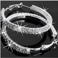 Fashion Wedding Silver Plated Diamante 2 Row Crystal Rhinestone Hoop Round Earrings Gift