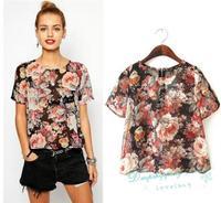 Summer European Floral Prints T-shirts Zipper Short-sleeved T-shirts Perspective Casual Chiffon Shirt Women Free Shipping