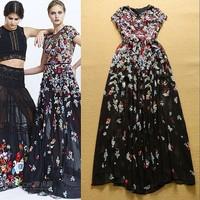 2015 New Summer Fashion  Ladies's Floral Maxi Dress Chiffon Long Dress F16823