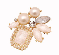 Korea style gold plated alloy rhinestone pearl flower pin brooch accessories  2pcs/lot