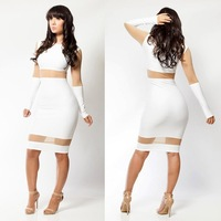 2015 fashion bandage bodycon casual mini dress new women long sleeve sexy hollow out mesh patchwork dress