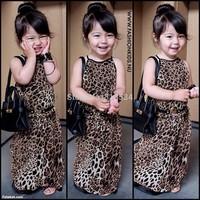 girls fashion leopard dresses children fashion slip dress sleeveless one-piece kids summer clothing wholesale