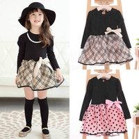 Sweet Baby Girl Princess Dress Girls Princess Party Dress Kids Dots/Plaids Bow Dress