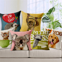 Literary Style Animal Print Cushion Cover For Sofa Car Seat 45*45cm Cotton Linen Decorative Cushion Case Pillow Cover SMC267T