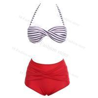Fashion Sexy Women Beach Bikini Swimsuit Halter High Waist Stripe Swimwear Women Swimsuits Set Free Shipping