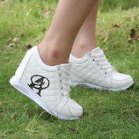 Hot Sales new 2015 Autumn Black White Hidden Wedge Heels Casual shoes Women's High-heels Sneakers for Women Rhinestone WA4025