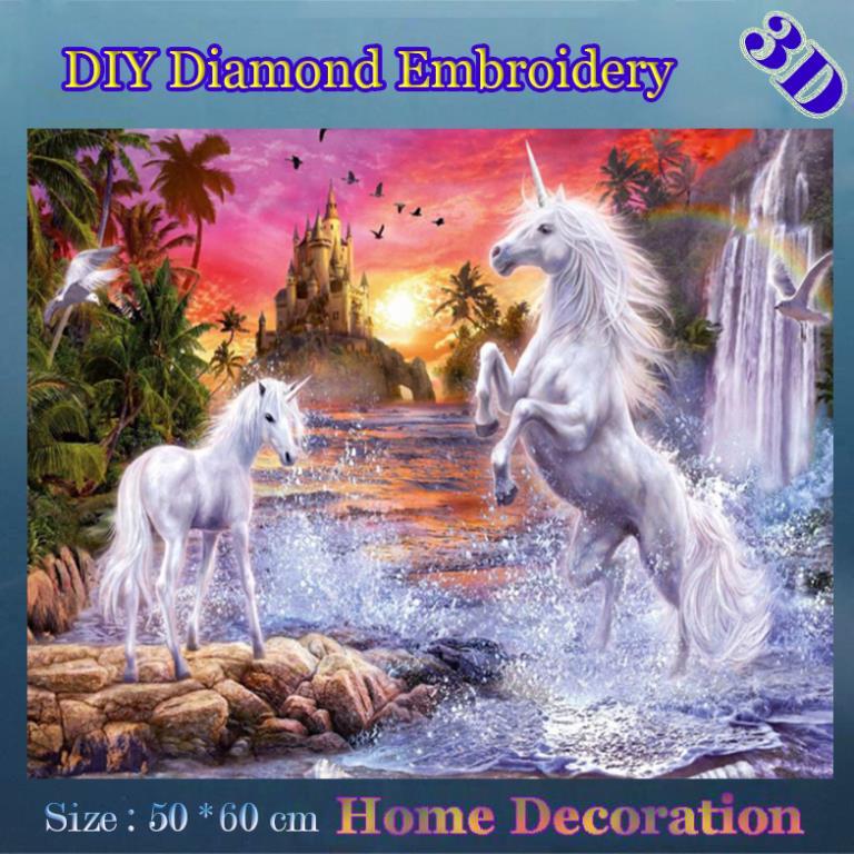 DIY Full diamond embroidery Holy unicorn fairy tale world animals home decor kit sewing decor painting diamond stitch(China (Mainland))