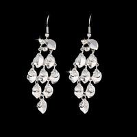 Fashion silver crystal dorp earrings hot sell earrings for woman diamond earring leave earrings