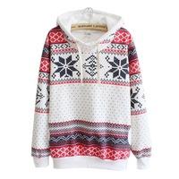Women Christmas Snow Hoodie Sweatshirt Jumper Sweater Hooded Pullover Alipower