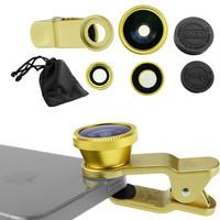 Camera Photo Kit (Gold) Fisheye-Lens + Wide Angle + Macro Lens Clip For Smart Phones