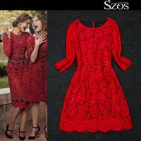 2015 summer sexy women half sleeve one piece dress brand designer dresses large size runway dress  fashion lace dress red